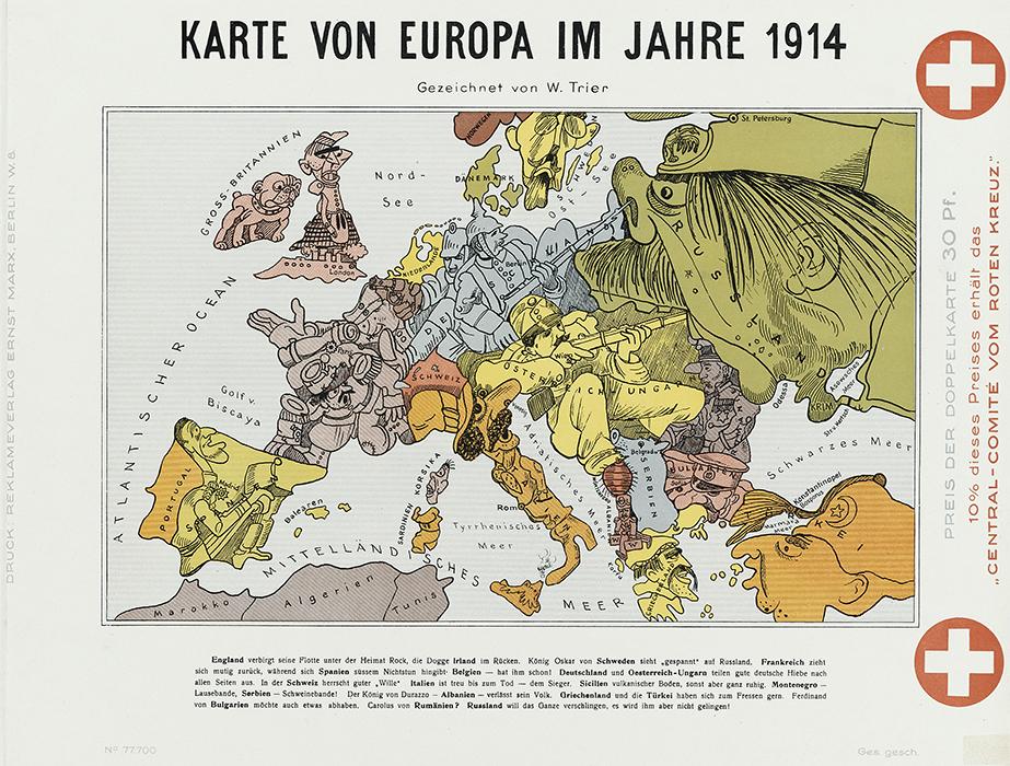 Humoristische Karte Von Europa 1914.1 Weltkrieg Humoristische Karten Von Europa 1914