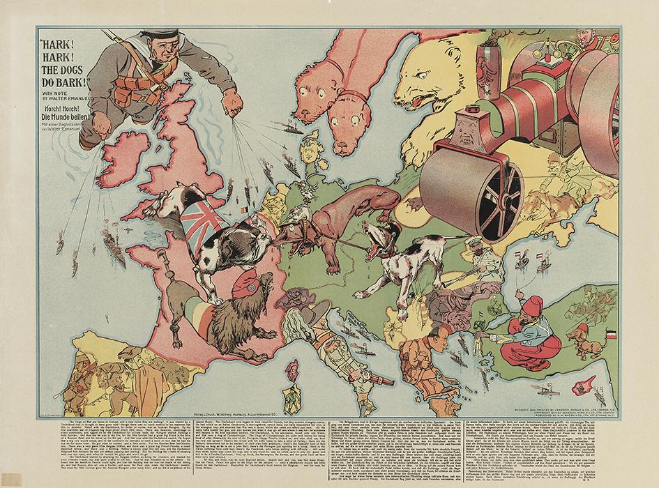 Karte Von Europa 1914.1 Weltkrieg Humoristische Karten Von Europa 1914